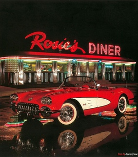 car, rosies diner and red car