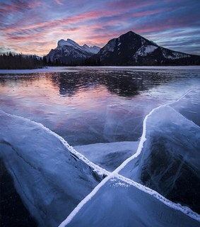 mount rundle, reflections and ice
