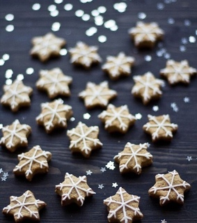 christmas cookies, snowflakes and cozy
