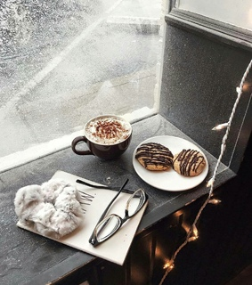 winter, hot cocoa and window