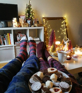 pyjamas, christmas decor and lights