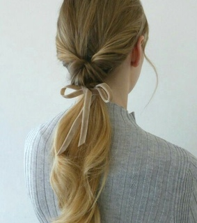 twist, ribbon and ponytail