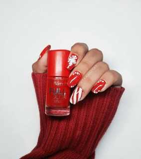nails, red and christmas