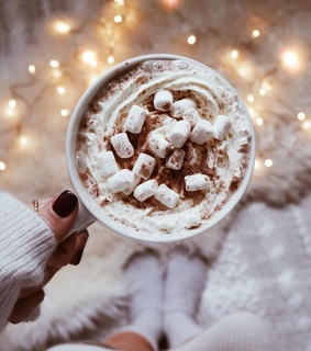 marshmallows, whipped cream and lights