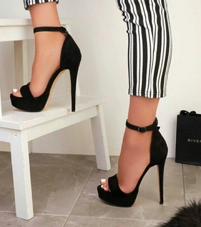 heeled shoes and striped pants