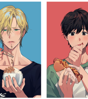 ash x eiji, male and eat