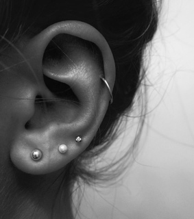 triple, jewelry and ear
