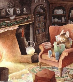 mice, book and fireplace