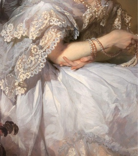 painting, portrait and lace