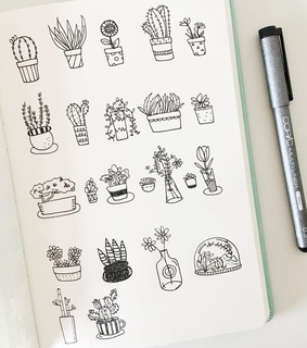 drawing, art and plants