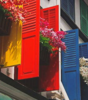 yellow and red, windows and blue