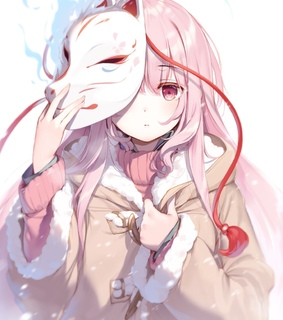 pink hair, touhou project and kitsune mask