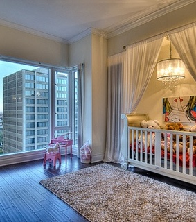 baby room, big window and interior design