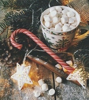 cozy, hot chocolate and happiness