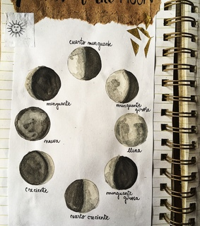 art, moon and phases