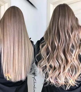 blonde, straight and curly