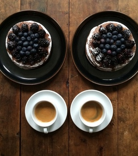 pancakes, couple and coffee