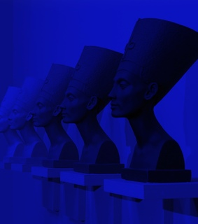 royal blue, sculptures and colorful