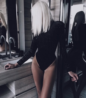 mirror, platinum hair and style
