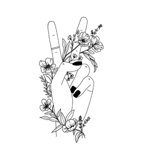 peace sign, black and aesthetic