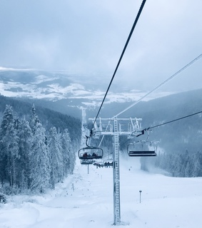 ropeway, mountain and sky
