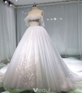 wedding dresses 2019, a line wedding dress and tulle wedding gown