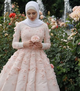 dress, flowers and hijab