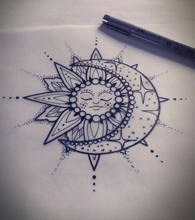 sun and moon, ink and hippe