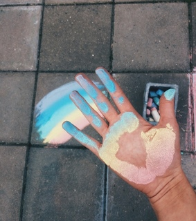 chalk, happier and carefree