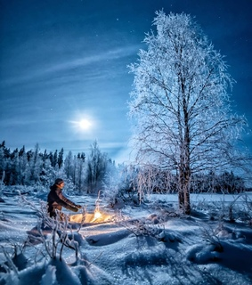 snow, camping and campfire