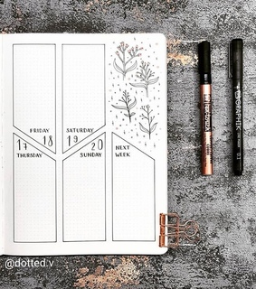 bullet journal, journal and weekly spread