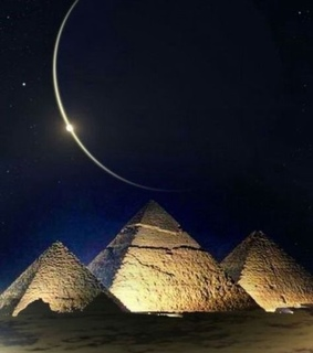 deserts of egypt, pyramids and moon