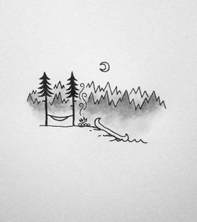 camping, river and pine tree