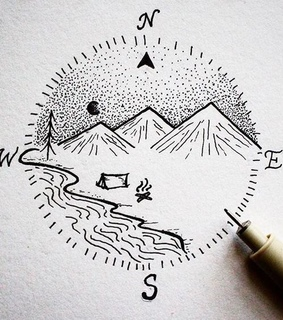 tattoo, compass and river
