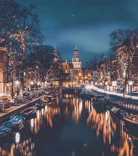 christmas lights, amsterdam and netherlands