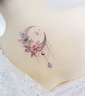 floral, moon flower and tattooed