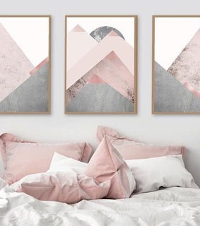 grey, pink theme and interior