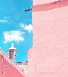 pink, pink and blue and architecture