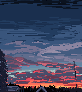 sunset, pixel and aesthetic