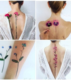 ink, acuarela and flower