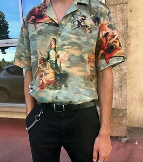 chain, art style and shirt