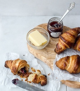 jam, pastries and croissant