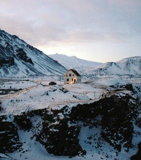 mountain, cabin and house