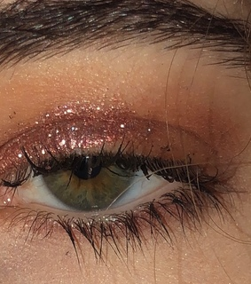 green eye, pink and lashes
