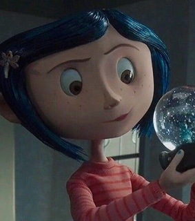 coraline, blue hair and animation