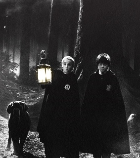harry potter, drago malfoy and black and white