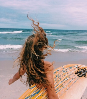 surfboard, surf and girl