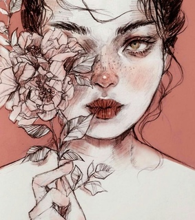 drawing, flower and drawing woman