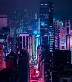 blue, neon light and big city
