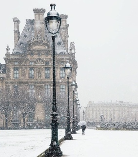 architecture, city and snowing